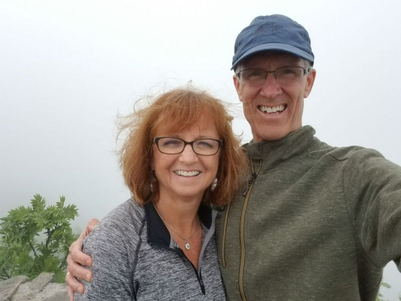 K and D in clouds. NC mountains.