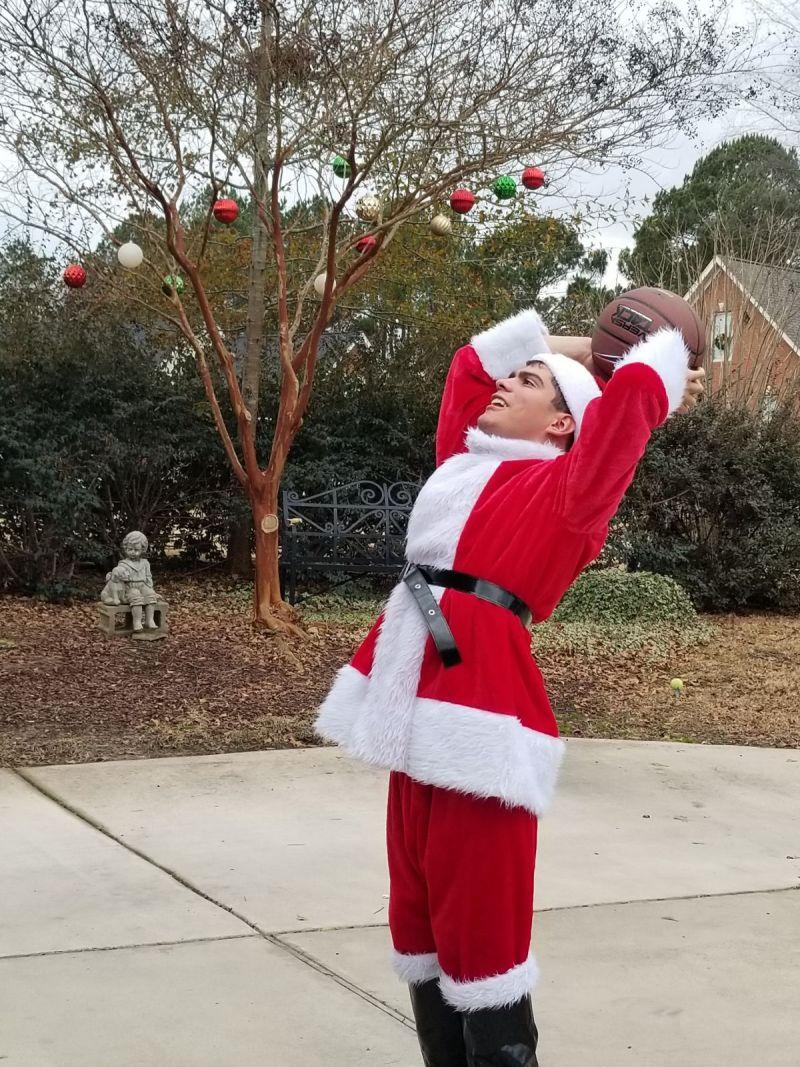 Santa shooting some hoops