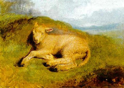 sir-edwin-henry-landseer-a-sleeping-lamb